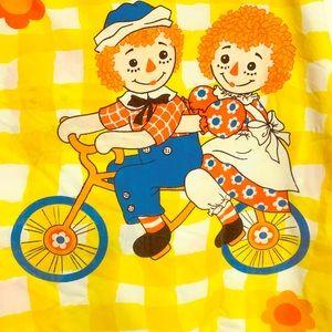 Raggedy Ann & Andy Twin Flat Sheet Yellow Gingham